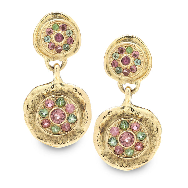 18K Gold Earrings with Tourmaline Gem stone