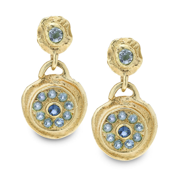 14K Gold Earrings with Blue Topaz Gem stone