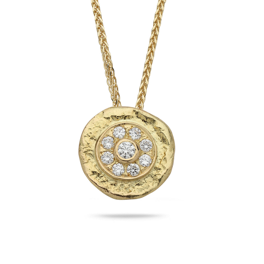 18k Gold pendant with 0.30 carat diamonds and 14K gold chain Spiga 20 inch