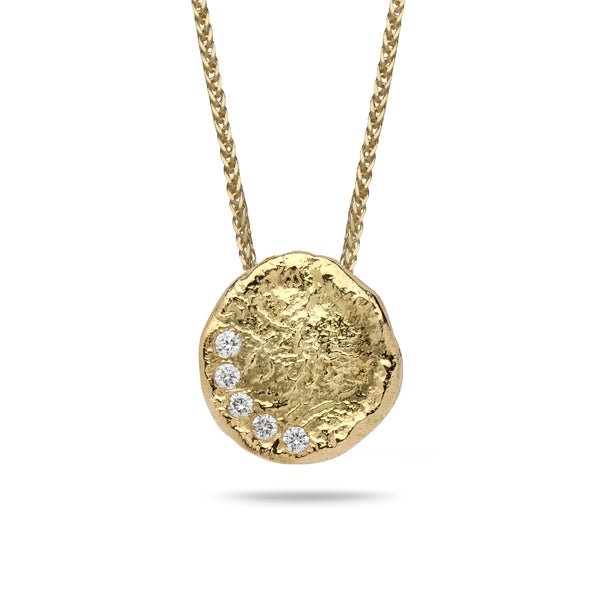 18k Gold pendant with 0.075 carat diamonds and 14K gold chain Spiga 18 inch
