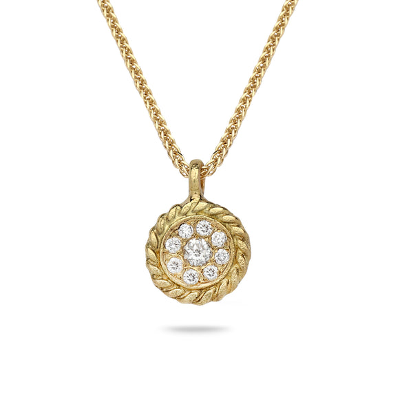 18k Gold pendant with 0.30 carat diamonds and 14K gold chain Spiga 18 inch