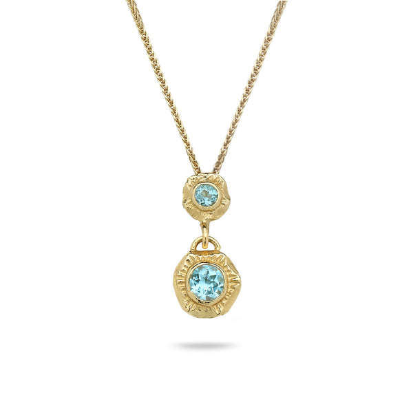 14K Gold pendant with Blue Topaz and 14K gold chain Spiga 19 inch