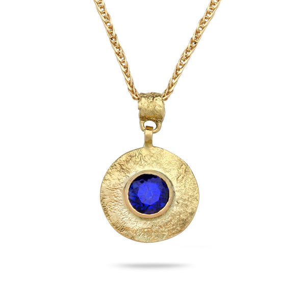 18k Gold pendant with lab grown sapphire and 14K gold chain Spiga 18 inch