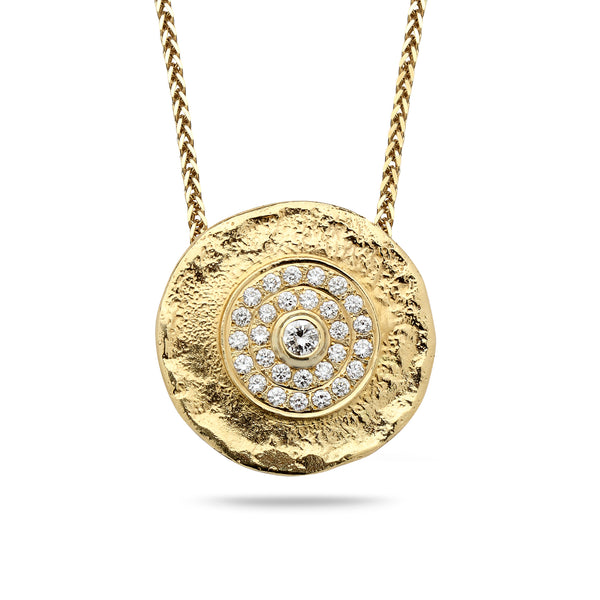 18k Gold pendant with 0.95 carat diamonds and 14K gold chain Spiga 18 inch