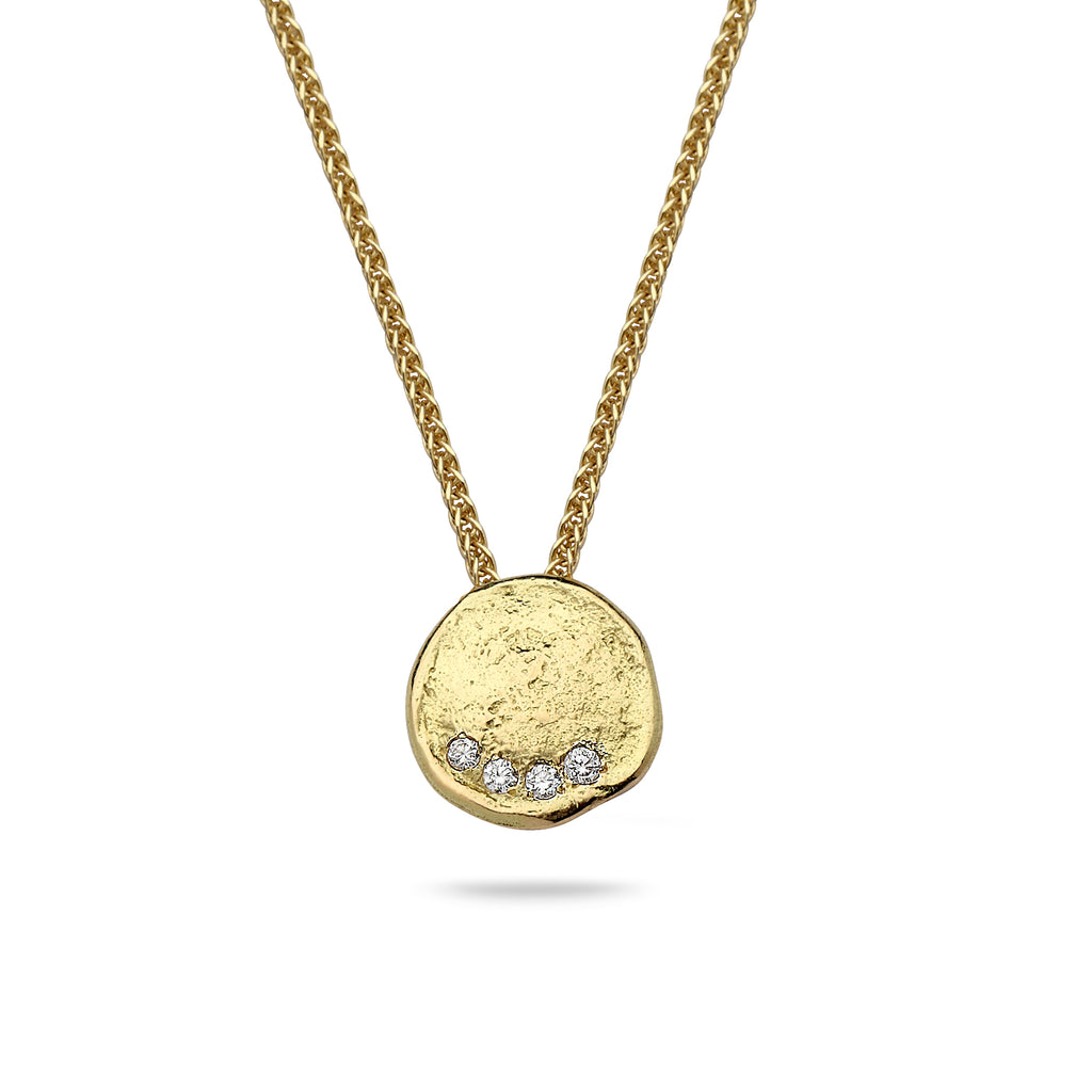 18k Gold pendant with 0.12 carat diamonds and 14K gold chain Spiga 18 inch