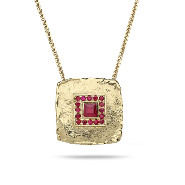 14K Gold pendant with Ruby and 14K gold chain Spiga 19 inch