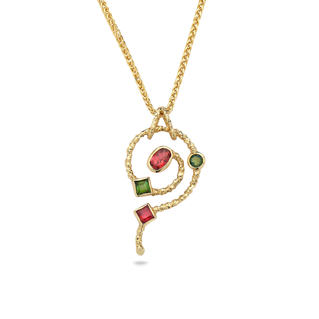 14K Gold pendant with Tourmaline Gem Stones and 14K gold chain 21 inch