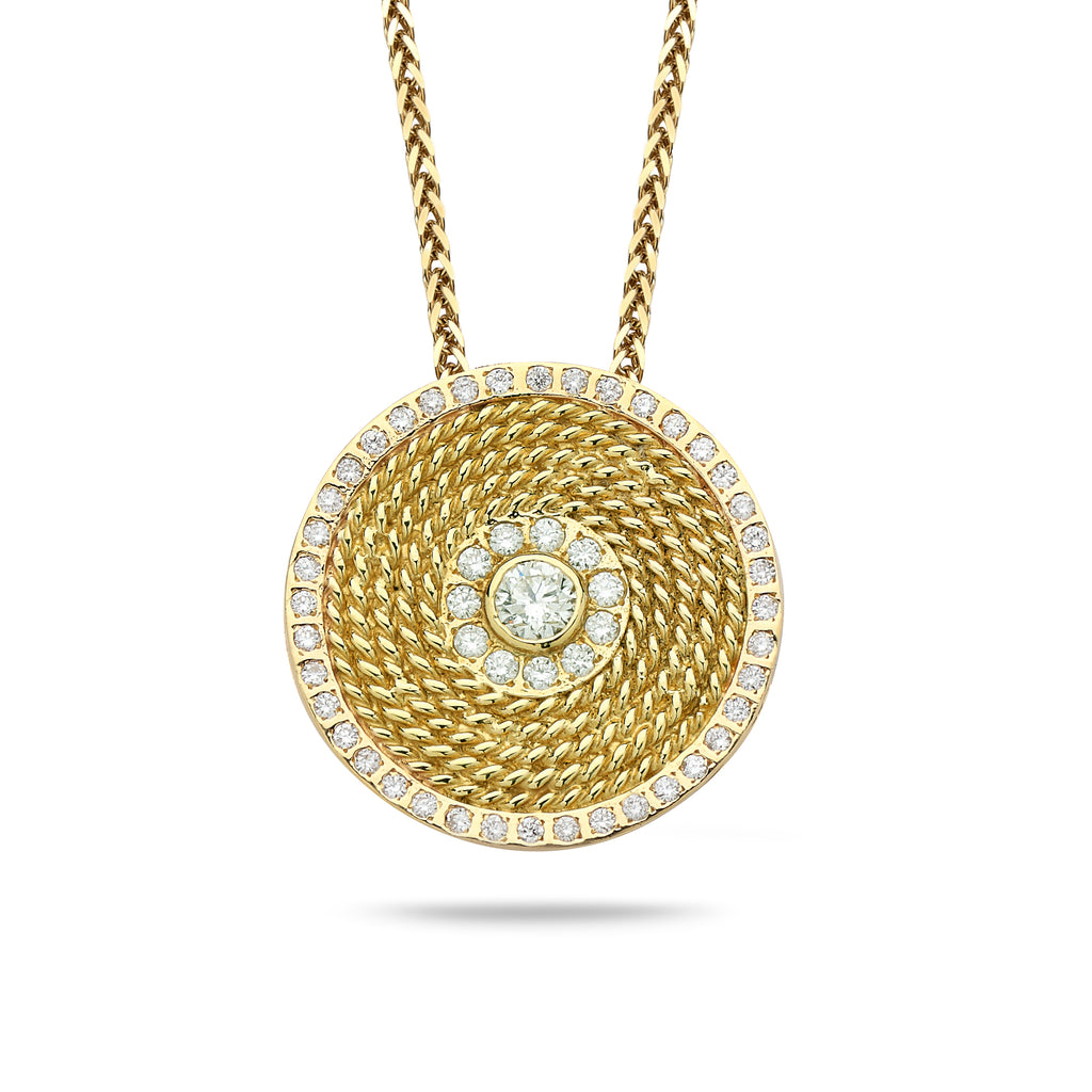 18k Gold pendant with 0.80 carat diamonds and14K gold chain Spiga 20 inch