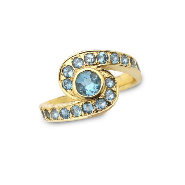 14K Gold Ring with Blue Topaz Gemstones