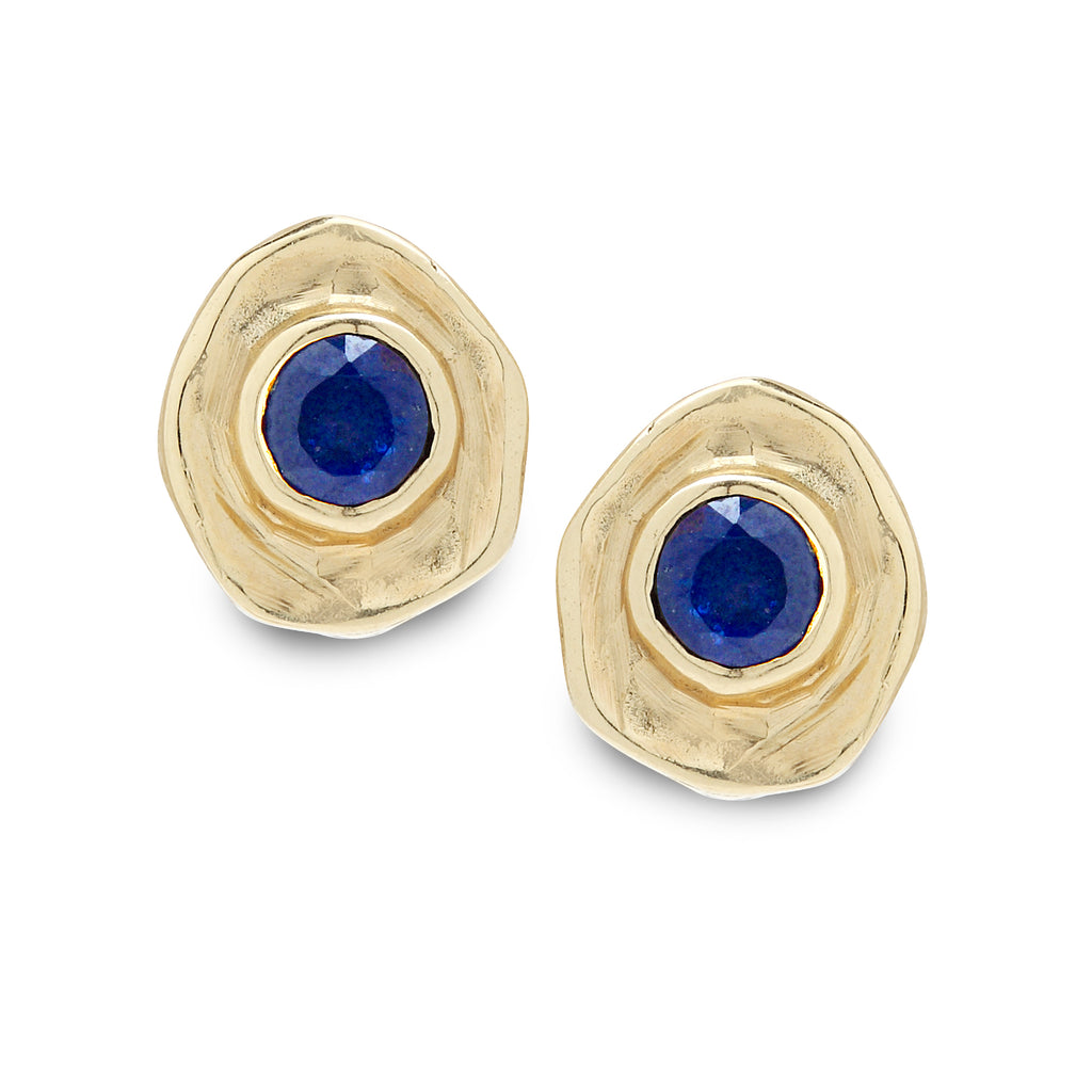 14K Gold Earrings with Sapphire