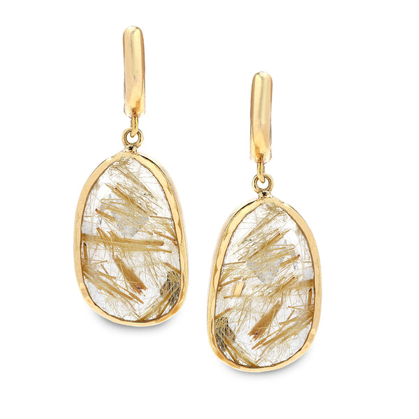 14K Gold Earrings with Rutilated Quartz