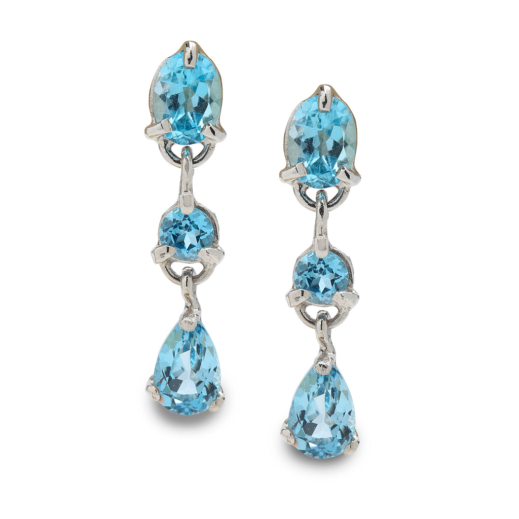 14K White Gold Earrings with Blue Topaz Gemstones