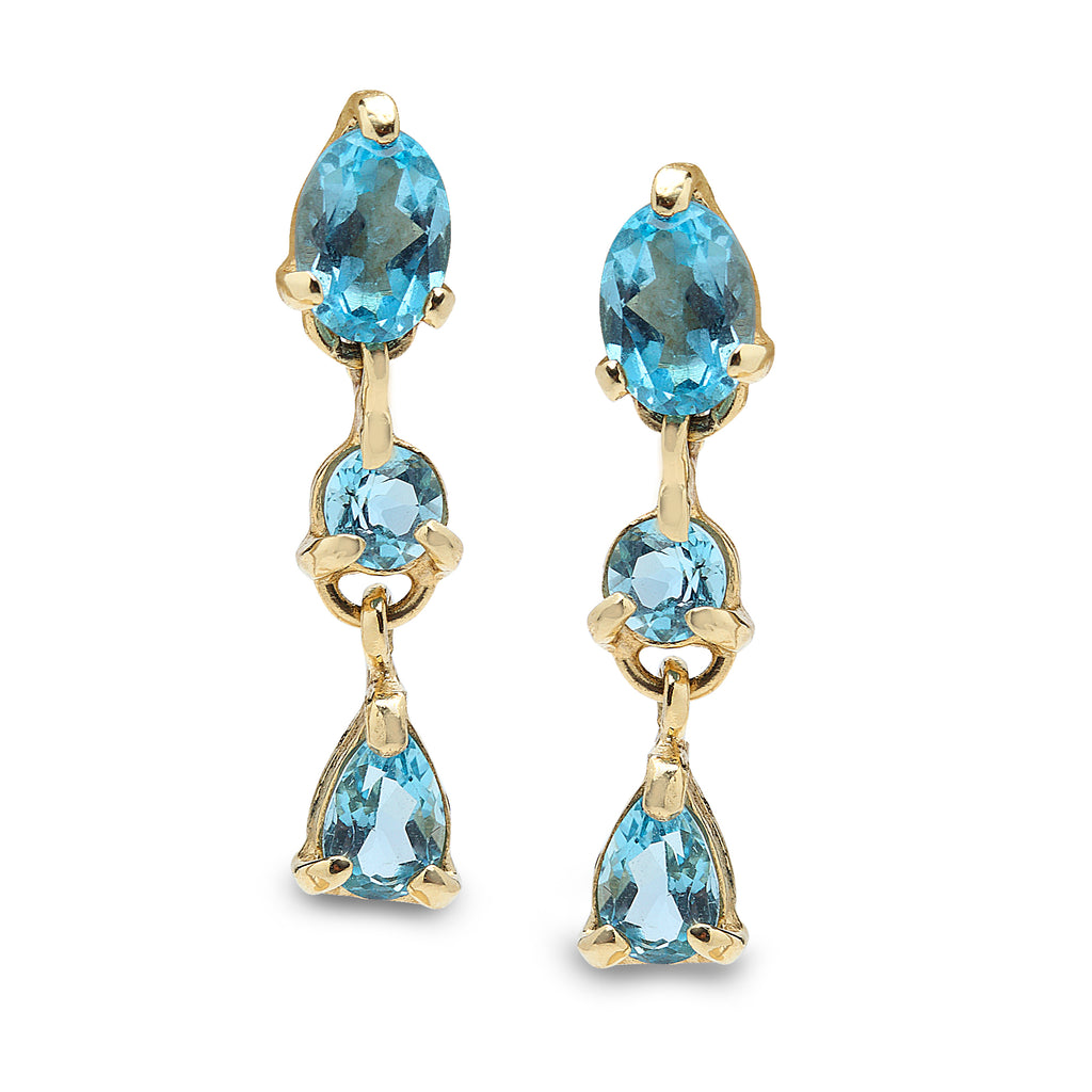 14K Gold Earring Blue Topaz Gems