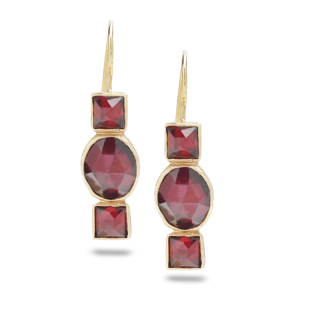14K Gold Earrings with Garnet