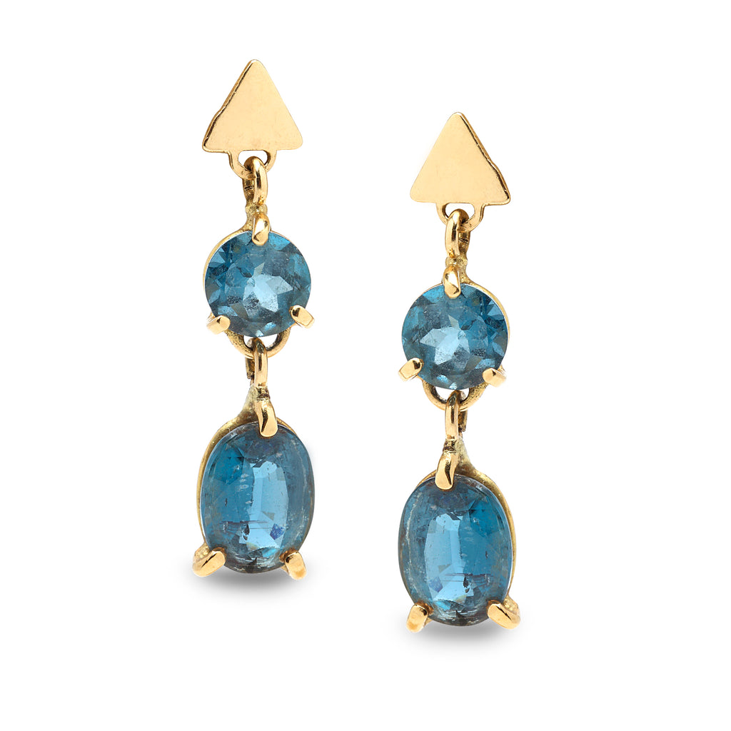 14K Gold Earring with Blue Topaz Gemstones