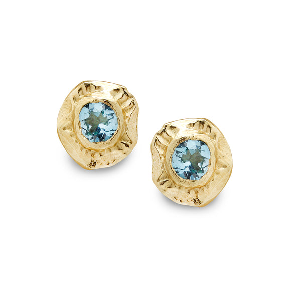 18K Gold Earrings with Blue Topaz Gem stone