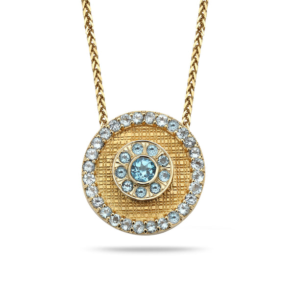 14K Gold pendant with Blue Topaz 14K gold chain Spiga 23 inch