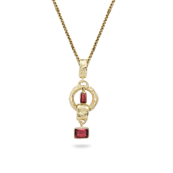 18k Gold pendant with Tourmaline Gemstones and 14K gold chain 18 inch