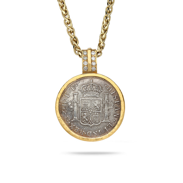Spanish Silver Coin with 18K Gold Bezel Pendant with Diamonds 20 inch gold chain