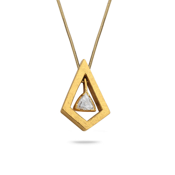 24K Gold Pendant with 0.75 carat Diamond and 14K Gold Chain 21