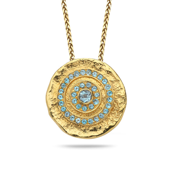 14K Gold pendant with Blue Topaz Gem stone and 14K gold chain Spiga 23 inch
