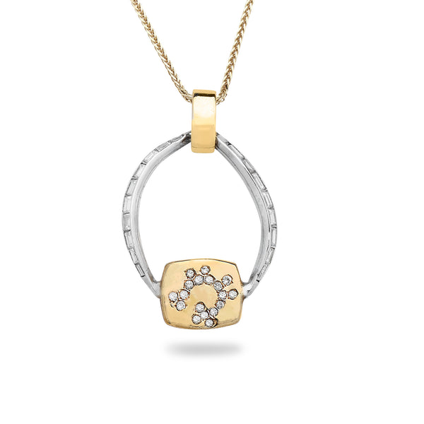 14K white and yellow Gold pendant with 0.30 carat Diamonds and 18 inch gold chain