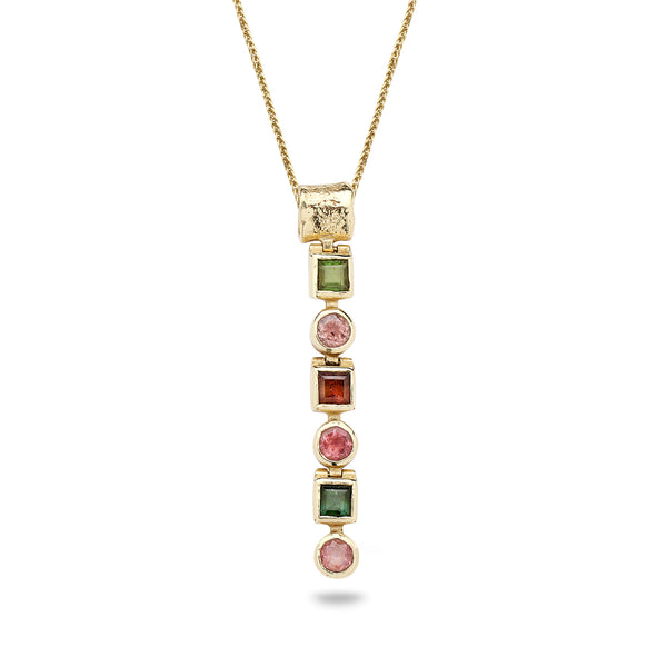 14K Gold pendant with Tourmaline Gem stones and 14K Gold chain 16 inch