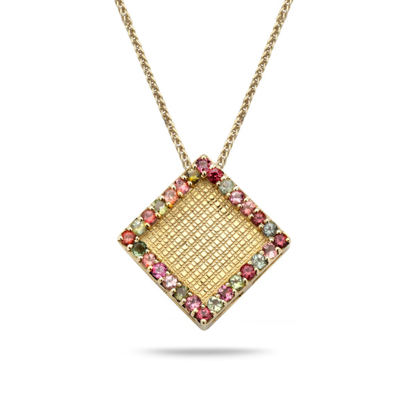 14K Gold pendant with Tourmaline Gem Stones and 14K Gold chain 18 inch