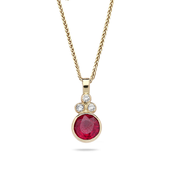 14K Gold pendant with Ruby, diamonds 0.10 carat and14K gold chain 19 inch