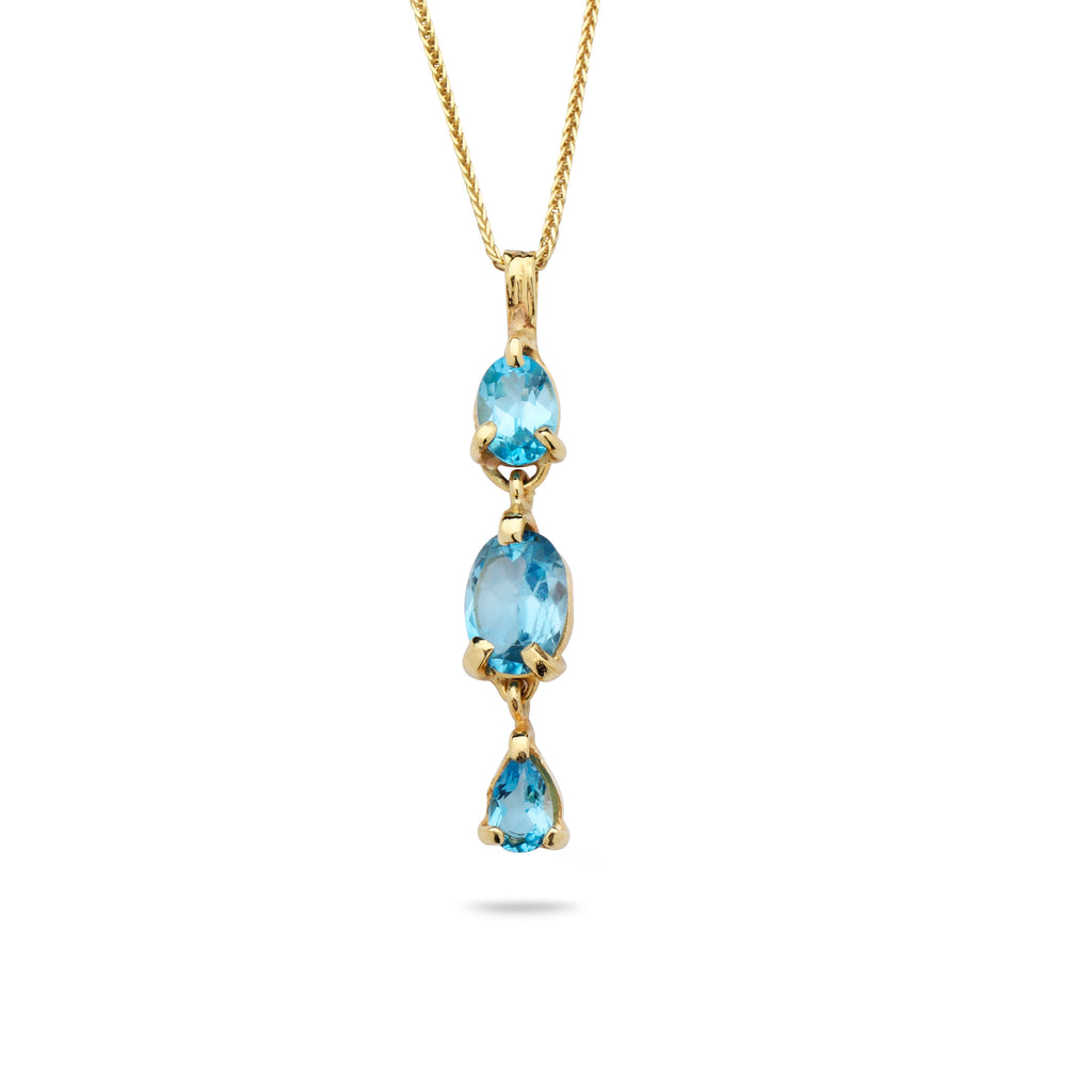 14K Gold pendant with Blue Topaz Gem Stone and 14K gold chain 19 inch