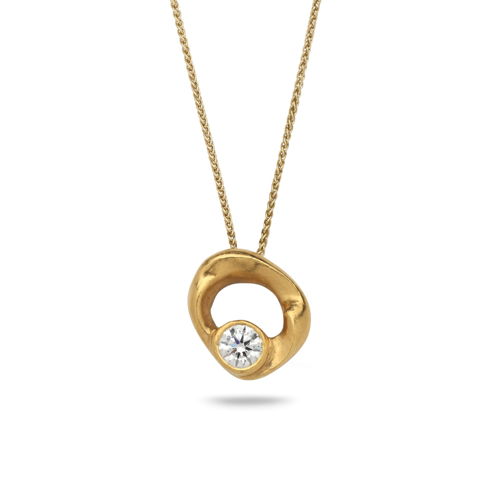 24K Gold pendant with 1 carat diamond and 18K gold chain Spiga 18 inch