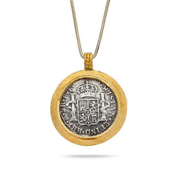 Spanish Silver Coin with 24K Gold Bezel Pendant