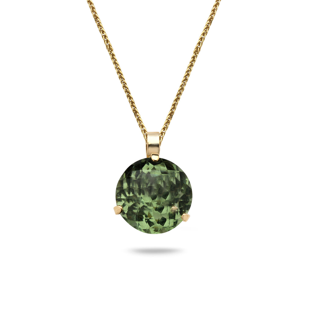 14K Gold pendant with Green Amethyst gem stone and 21 inch gold chain