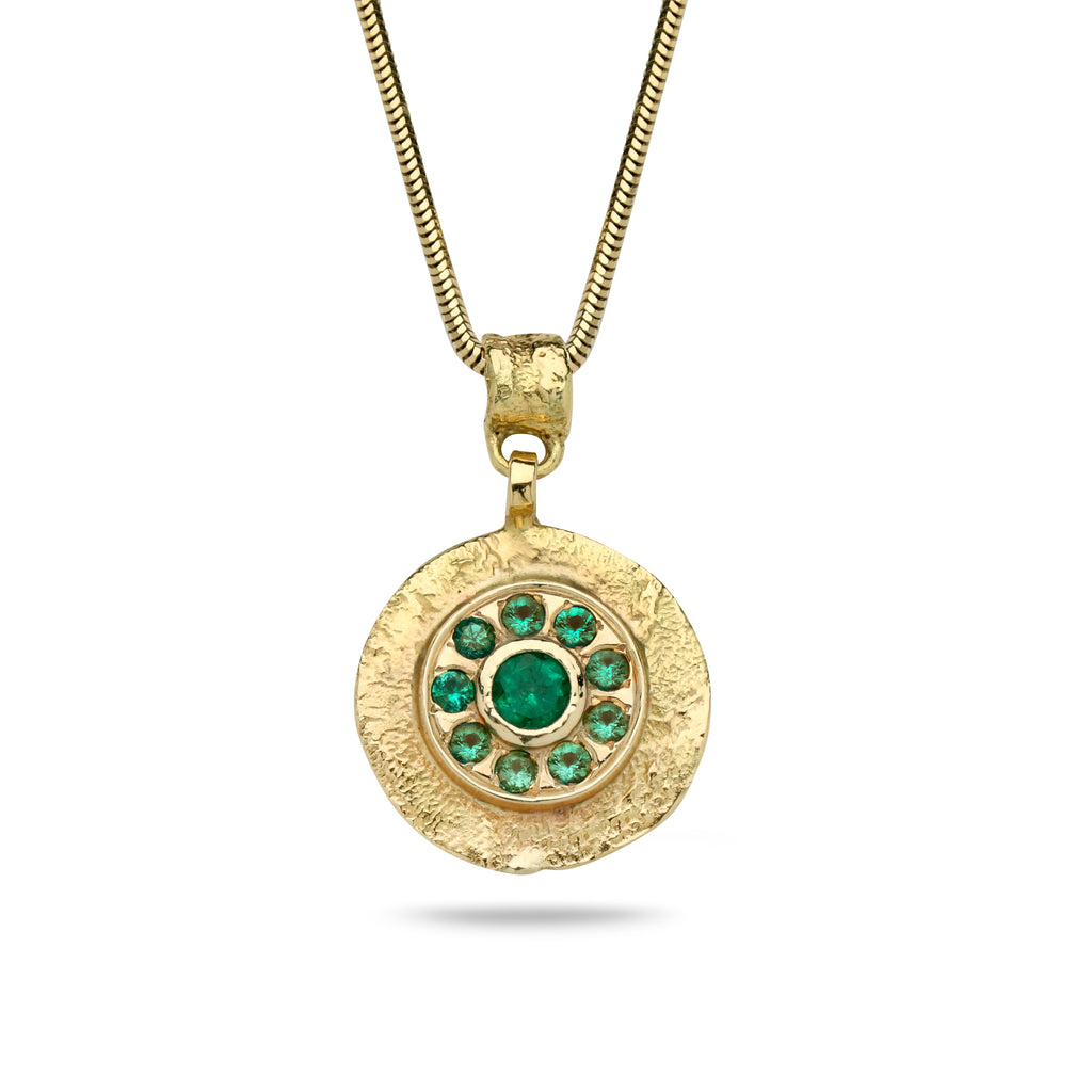 14K Gold pendant with Emerald Gem stones and 14K gold chain Spiga 19 inch