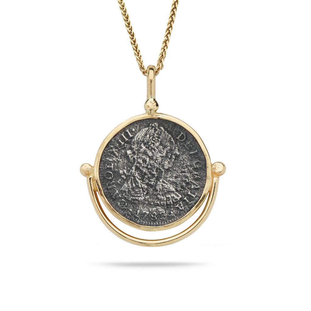 "Spanish Silver Coin with 14K Gold Bezel Pendant and 24"" Chain"