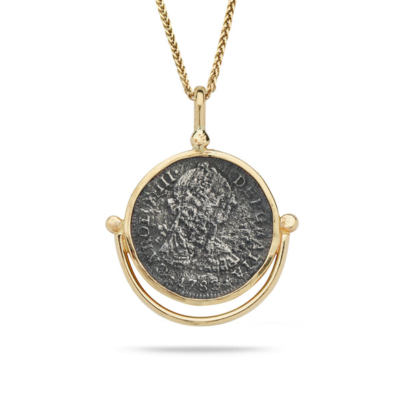 Spanish Silver Coin with 14K Gold Bezel Pendant and 24