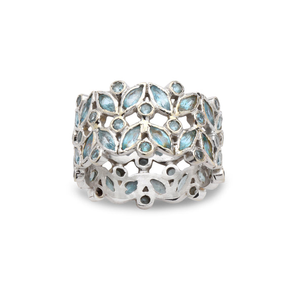14K White Gold Ring with Blue Topaz Gemstones