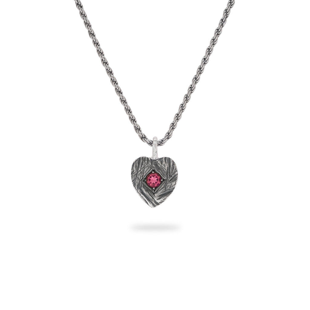 OKSH10 925 Silver Heart Pendant with Pink Tourmaline