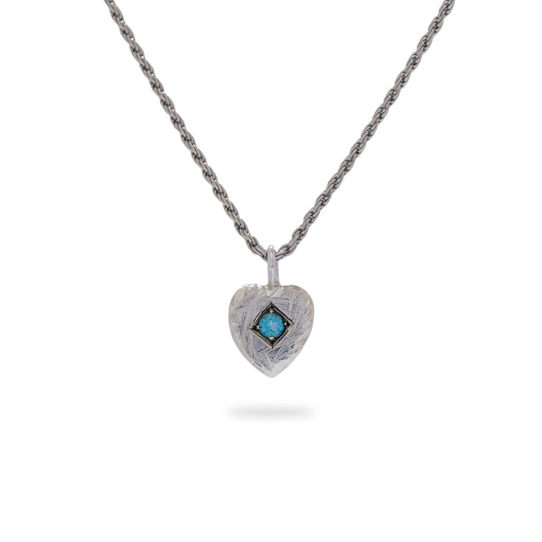 OKSH11 925 Silver Heart Pendant with Blue Topaz
