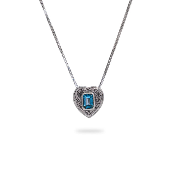 OKSH13 925 Silver Pendant with Blue Topaz