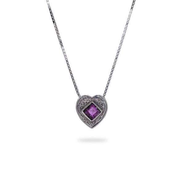 OKSH14 925 Silver Heart Pendant with Amethyst