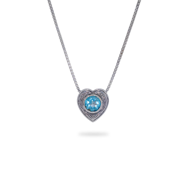 OKSH15 925 Silver Heart Pendant with Blue Topaz
