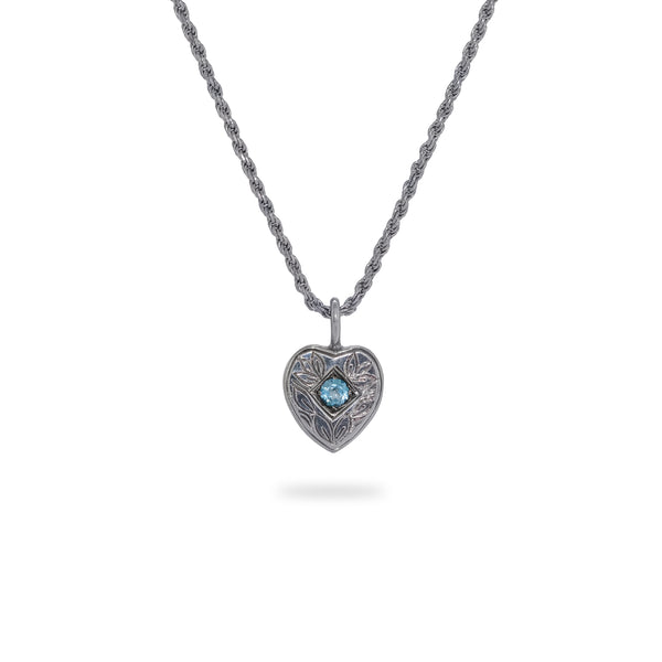 OKSH16 925 Silver Heart Pendant with Blue Topaz