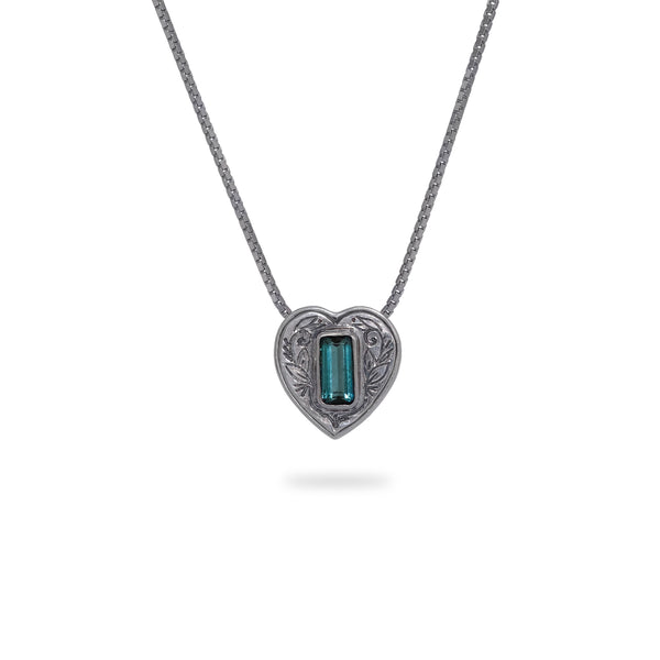 OKSH19 925 Silver Heart Pendant with Tourmaline