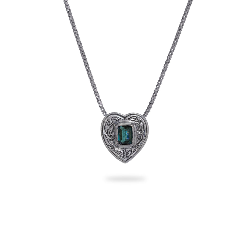 OKSH20 925 Silver Heart Pendant with Tourmaline