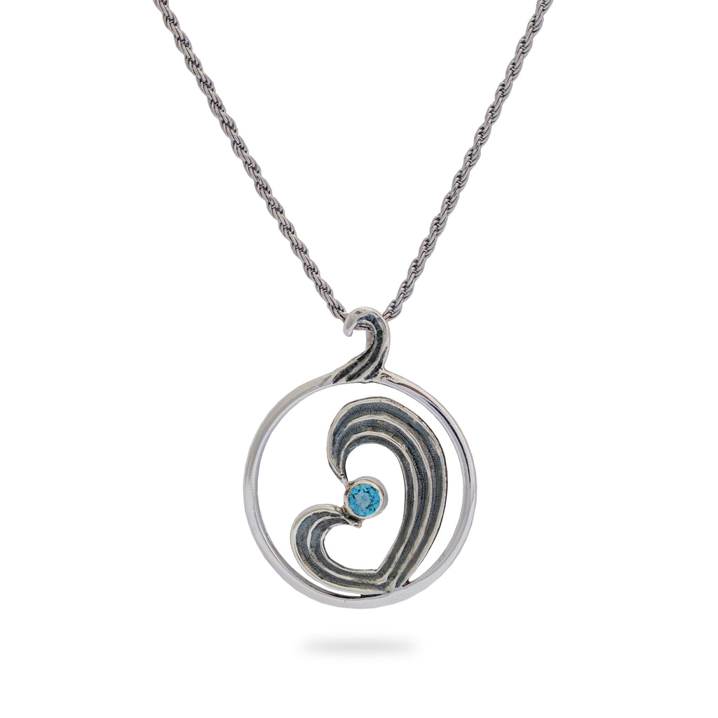 OKSH5 925 Silver Heart Pendant with Blue Topaz