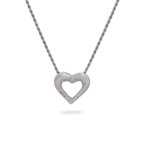 OKSH6 925 Silver Heart Pendant with Cubic Zirconia