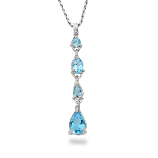 925 silver Pendant with Blue topaz Gem stone and 19 inch chain