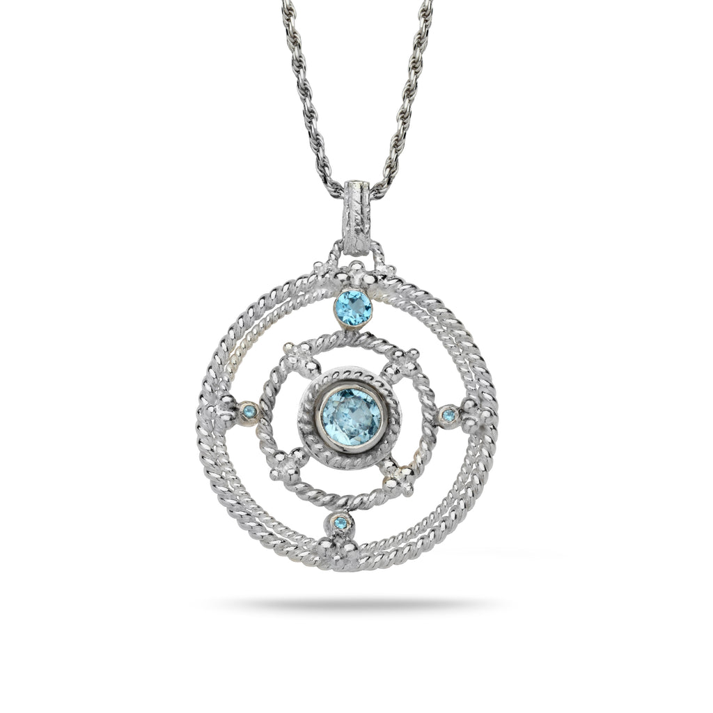 925 silver Pendant with Blue topaz Gem stone and 18 inch chain