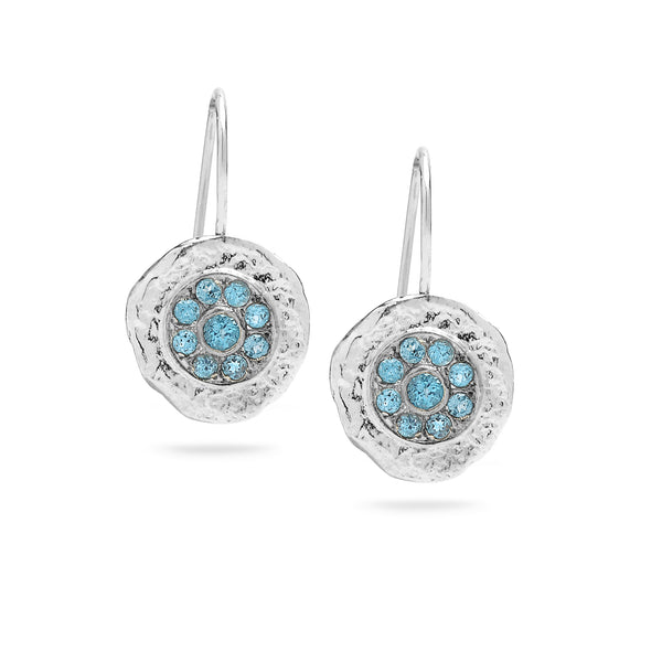925 silver earrings with Blue Topaz Gem stone